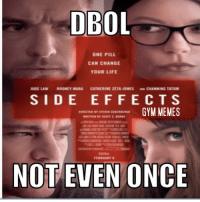 DROL  ONE PILL  CAN CHANGE  YOUR LIFE  JUDE LAW  ROONEY MARA  CATHERINE ZETA-JONES CHANNING  S I D E E F F E C T S  GYM MEMES  NOT EVEN ONCE Do you take the blue pill or the left pill?   Gym Memes
