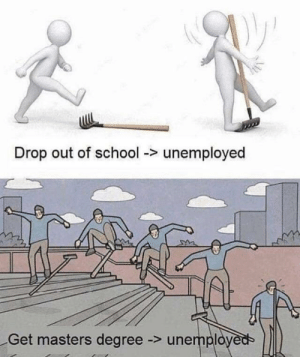 School, Masters, and Irl: Drop out of school -> unemployed  Get masters degree -> unemplo me_irl