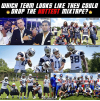 Memes, Patriotic, and Chargers: DROP THE  HOTTEST  VIA: @PATRIOTS  acBssports  VIA: @CHARGERS  TAPE?  VIA: CHOUSTONTXANS  VIA: @DALLASCOWBOYS  VIA: @NY GIANTS These dudes are about to drop some serious 🔥