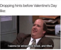 Valentine's Day, Mean, and Girl Memes: Dropping hints before Valentine's Day  like:  I wanna be wined,and dined, and 69ed. I mean, who doesn't?