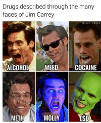 """Drugs, Jim Carrey, and Memes: Drugs described through the many  faces of Jim Carrey  asean speez  ALCOHOLWEED  COCAINE  0  METH  MOLLY  LSD <p>Somebody Stop Me via /r/memes <a href=""""http://ift.tt/2CBtxIi"""">http://ift.tt/2CBtxIi</a></p>"""