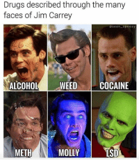 Drugs, Funny, and Jim Carrey: Drugs described through the many  faces of Jim Carrey  osean speezy  ALCOHOLWEED COCAINE  METH  MOLLY  ISD Ace 😎 NoChill