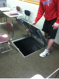 Fucking, Trap, and Tumblr: drumcorpshero:  tylerchokely:  kelseylx:  We discovered a trap door in class today The Chamber of Secrets has been opened  I CAN SEE FUCKING EYES GOOD BYE CLOSE THAT FUCKING DOOR  NOOO NO lies i see them to  I DONT SEE ANYTHING SOMEONE SHOW ME