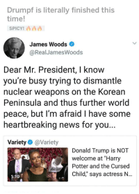 """Harry Potter And The Cursed Child: Drumpf is literally finished this  time!  James Woods  @RealJamesWoods  Dear Mr. President, I know  you're busy trying to dismantle  nuclear weapons on the Korean  Peninsula and thus further world  peace, but I'm afraid I have some  heartbreaking news for you  Variety @Variety  Donald Trump is NOT  welcome at """"Harry  Potter and the Cursed  Child,"""" says actress N...  1:10"""