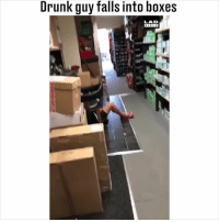 Coming into work still p*ssed from the night before... 😅😂: Drunk guy falls into boxes  LAD Coming into work still p*ssed from the night before... 😅😂