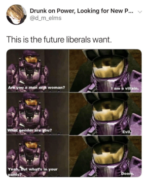 This is our future by LightningAce MORE MEMES: Drunk on Power, Looking for New P...  @d_m_elms  This is the future liberals want  Are you a man ora woman?  Iam a villain.  What gender are you?  Evil  Yeah, but what's in your  pants?  Doom This is our future by LightningAce MORE MEMES