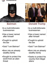 "Troll meme of the day: drunkamerica  Donald Trump  Is a multi-billionaire  Batman  Is a multi-billionaire  businessman  businessman  Has a tower named  after himself  Has a tower named  after himself  Fought to uphold  the law  Fought to uphold  the law  .Said ""I am Batman  Said am Batman""  Born into an already  wealthy family  Born into an already  wealthy family  Sought to protect the  world from an alien  threat  Seeks to protect his  country from illegal  aliens Troll meme of the day"