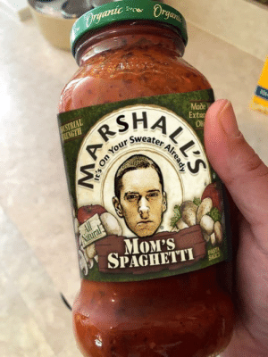 A few days ago a fellow redditor posted in r/showerthoughts about how successful Eminem's mom would be is she sold spaghetti sauce - well here's a sample of what the jar would look like: Dryanic  Organ  RSHA  Sweater  DUSTRIAL  NERENGTH  Made  Extro  Olf  All  Natural  MOM'S  SPAGHETTI  PASTA  SAICE  ALL'S  Already A few days ago a fellow redditor posted in r/showerthoughts about how successful Eminem's mom would be is she sold spaghetti sauce - well here's a sample of what the jar would look like