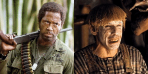 Ben Stiller, Robert Downey Jr., and Tropic Thunder: dS. ARMY In Tropic Thunder, filmmakers approved Robert Downey Jr's use of Blackface only after Ben Stiller said he would wear Whiteface in order balance it out