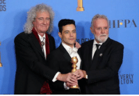 Rami Malek celebrating his Golden Globe victory with Queen.: DS  HFPA  LTON Rami Malek celebrating his Golden Globe victory with Queen.
