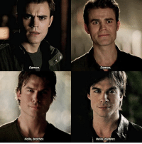 1.01 - 8.16 — the change in stefans facial expression, from being scared of damon to being happy of his presence :) Q: pilot or finale?: DSEDITS  Damon.  Damon.  Hello, brother.  Hello, brother. 1.01 - 8.16 — the change in stefans facial expression, from being scared of damon to being happy of his presence :) Q: pilot or finale?
