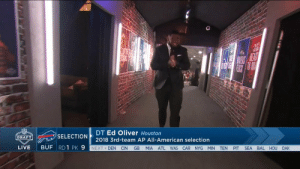 Abc, Espn, and Memes: DT Ed Oliver Houston  2018 3rd-team AP All-American selection  SELECTION  DRAFT  LIVE BUF RDI  K 9 NEXT DEN CIN GB MIA ATL WAS CAR NYG MIN TEN PIT SEA BAL HOU OAK Let it out, @Edoliver_11! 🗣 #NFLDraft  📺: NFLN/ESPN/ABC https://t.co/MBmTLNR3uz