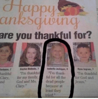 """I'm thankful for the @emotionalclub for this gem.: dtappy  are you thankful for?  Bedsole, 7I'm thankful  sabella Jerhigan,  Ryan Ingram, 7  arhamn, 7K  hankful """"I'm thankful""""I'm thank  Clary, for my family, ful for all the  nd  -for God and  dead peopleJesus.""""  because at  least they  tried.""""  God and Ms.  Clary."""" I'm thankful for the @emotionalclub for this gem."""