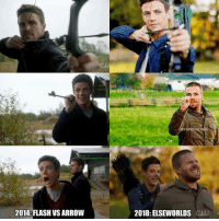 Memes, Arrow, and The Flash: dU  ro  em  2014: FLASH VS ARROW  2018: ELSEWORLDS SW Payback is a b***! This is completely awesome, so excited about this crossover event Arrowedits. . . Barry looks amazing as the Green Arrow 🎯 Episodes: The Flash 1x08 The Flash: 5x09 . theflash barryallen flash StephenAmell greenarrow oliverqueen grantgustin dccomics crossover crossoverevent elseworlds superheroeshow superheroe teamarrow thearrow dccomics cw flashvsarrow arrowmemes