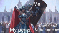 Dude, Penis, and Irl: Dude at ther  My penis Urinal next to me me irl
