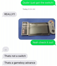 Gameboy advance: Dude I just got the switch!  Today 9:34 AM  REALLY!!  Yeah check it out!  Thats not a switch  Thats a gameboy advance Gameboy advance