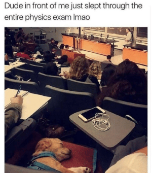 Dude, Memes, and Http: Dude in front of me just slept through the  entire physics exam Imao Some people just arent prepared via /r/memes http://bit.ly/2P7lpqb