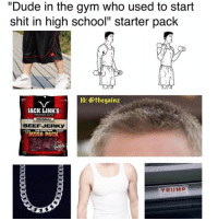 "Mega, Afs, and High School: ""Dude in the gym who used to start  shit in high school"" starter pack  IG: othe gainz  JACK LINK's  ORIGINAL  BEEFJERKy  MEGA PACK  TRUMP Accurate af 😂"