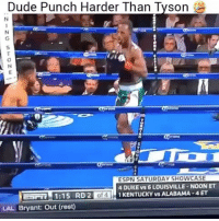 Dude, Espn, and Memes: Dude Punch Harder Than  Tyson  ESPN SATURDAY SHOWCASE  4 DUKE vs 6 LOUISVILLE-NOON ET  ESFR 1:15 RD 2 of 41 KENTUCKY VS ALABAMA 4 ET  LAL Bryant: Out (rest) Holy!😳