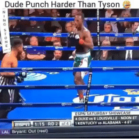 Dude, Espn, and Memes: Dude Punch Harder Than Tyson  tN  0  ESPN SATURDAY SHOWCASE  4 DUKE vs 6 LOUISVILLE-NOON ET  1 KENTUCKY vs ALABAMA 4 ET  ESFH 1:15 RD 2 of  LAL Bryant: Out (rest) Holy! 😳 Credit: @espn