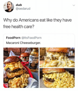 😐😐😐 (credit & consent: IG hydrangea.duds): duds  @oedarud  Why do Americans eat like they have  free health care?  FoodPorn @ltsFoodPorn  Macaroni Cheeseburger.  oron  ra 😐😐😐 (credit & consent: IG hydrangea.duds)