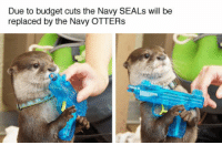"""<p>Budget Cuts.<br/><a href=""""http://daily-meme.tumblr.com""""><span style=""""color: #0000cd;""""><a href=""""http://daily-meme.tumblr.com/"""">http://daily-meme.tumblr.com/</a></span></a></p>: Due to budget cuts the Navy SEALs will be  replaced by the Navy OTTER:s <p>Budget Cuts.<br/><a href=""""http://daily-meme.tumblr.com""""><span style=""""color: #0000cd;""""><a href=""""http://daily-meme.tumblr.com/"""">http://daily-meme.tumblr.com/</a></span></a></p>"""