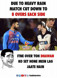 Heavy Rain: DUE TO HEAVY RAIN  MATCH CUT DOWN TO  8 OVERS EACH SIDE  OPDO  ANZ  LAUGHING  ow時  ITNE OVER TOH DHAWAN  KO SET HONE MEIN LAG  JAATE HAIN  C M。回參/laughingcolours