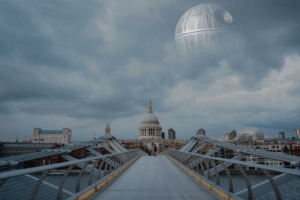 Due to less pollution we can finally see the Death Star.: Due to less pollution we can finally see the Death Star.