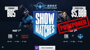 Due to unforeseen circumstances, we've unfortunately had to postpone today's FVBet show match. Stay tuned for the rescheduled date and time! #LIVEEVIL https://t.co/Qz8ELmmqwA: Due to unforeseen circumstances, we've unfortunately had to postpone today's FVBet show match. Stay tuned for the rescheduled date and time! #LIVEEVIL https://t.co/Qz8ELmmqwA