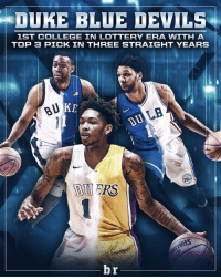 A Blue Devil goes in the Top 3 for a third straight year: DUKE BLUE DEVILS  1ST COLLEGE IN LOTTERY ERA WITH A  TOP 3 PICK IN THREE STRAIGHT YEARS  LA  br A Blue Devil goes in the Top 3 for a third straight year