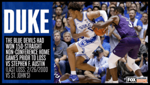The last time Duke lost a non-conference home game, Jay Williams and Carlos Boozer were freshmen for the Blue Devils 😳 https://t.co/26wkYlWron: DUKE  DUKE  THE BLUE DEVILS HAD  WON 150-STRAIGHT  NON-CONFERENCE HOME  GAMES PRIOR TO LOSS  VS STEPHEN F. AUSTIN  (LAST LOSS: 2/26/2000  VS ST. JOHN'S)  FOX HOOPS  COLLEGE The last time Duke lost a non-conference home game, Jay Williams and Carlos Boozer were freshmen for the Blue Devils 😳 https://t.co/26wkYlWron