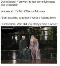 """mimosa: Dumbledore: You want to get some Mimosas  this weekend?  Voldemort: It's MimOSA not Mimosa  """"Both laughing together*: What a fucking bitch  Dumbledore: Wait did you always have a nose?  @whitepeoplehumor"""