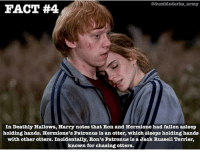 Hermione, Memes, and Otters: dumbledorks army  FACT #4  In Deathly Hallows, Harry notes that Ron and Hermione had fallen asleep  holding hands. Hermione's Patronus is an otter, which sleeps holding hands  with other otters. Incidentally Ron's Patronus is a Jack Russell Terrier,  known for chasing otters.