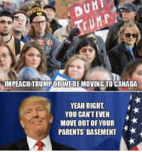 Haha 😂 Trumplicans PresidentTrump MakeAmericaGreatAgain TrumpTrain AmericaFirst: DUMI  IMPEACHTRUMPORWEREMOVING TO CANADA  YEAH RIGHT  YOU CAN'T EVEN  MOVE OUT PARENTS BASEMENT Haha 😂 Trumplicans PresidentTrump MakeAmericaGreatAgain TrumpTrain AmericaFirst