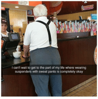 Goals 👌😂 | More 👉 @miinute: DUNKIN  DONUTS  I can't wait to get to the part of my life where wearing  suspenders with sweat pants is completely okay Goals 👌😂 | More 👉 @miinute
