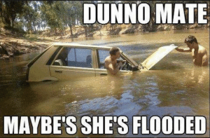 Mesnwhile in AUS: DUNNO MATE  MAYBE'S SHE'S FLOODED Mesnwhile in AUS