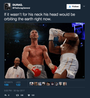 Balrog with that Hadouken uppercut: DURAG.  @TheDuragGeneral  Follow  If it wasn't for his neck his head would be  orbiting the earth right now  Wwe  liver  RETWEETS LIKES  3:32 PM-30 Apr 2017  6  186  122 Balrog with that Hadouken uppercut