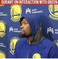 KD speaks on what transpired on the court late in the Memphis game. Family: DURANT ON INTERACTION WITH GREEN  KAISER  PERMANENTE  MISER  ERMANENTE  ARF  ARRI  KAI  KAISER  PERMANEN  PER  LOEN s  DEN  KAISER  ERMANNE  EN  s KD speaks on what transpired on the court late in the Memphis game. Family