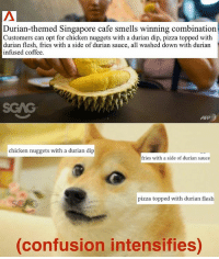 Love, Memes, and Pizza: Durian-themed Singapore cafe smells winning combination  Customers can opt for chicken nuggets with a durian dip, pizza topped with  durian flesh, fries with a side of durian sauce, all washed down with durian  infused coffee.  ATP  chicken nuggets with a durian dip  fries with a side of durian sauce  pizza topped with durian flesh  confusion intensifies) I mean, I love durian, but... I'm not sure how I feel about this