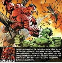 Disney, Energy, and Facts: During battle against the Defenders (Hulk, Silver Surfer,  Dr. Strange and Namor), Rulk killed the Hulk, absorbed  the Silver Surfer's Cosmic Energy, which killed him, and  decapitated Namor. Rulk even delivered a beating to an  Elder of the Universe because the Elder brought the  COMIC SOURCE Defenders back to life, Dang, Rulk is a beast ________________________________________________________ BlackBolt Ironman BlackWidow Avengers Marvel Hulk Spiderman BlackPanther MCU Venom Hawkeye SpidermanHomecoming DarthVader Thor CaptainAmerica StarWars Deadpool Like CivilWar Antman quicksilver Like4Like Facts Comics Lukecage Daredevil Marvel CW Disney DCComics