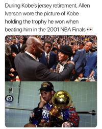 Finals, Memes, and Nba: During Kobe's jersey retirement, Allen  lverson wore the picture of Kobe  holding the trophy he won when  beating him in the 2001 NBA Finals  NBAMEMES  2  193  Zos That's another level of respect 🔥😂 - Follow @_nbamemes._