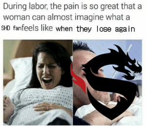 Pain, Can, and Imagine: During labor, the pain is so great that a  woman can almost imagine what a  SHD fanfeels like when they lose again
