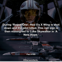 Red 5 standing by! starwarsfacts: During Rogue One', Red 5's X Wing is shot  down and the pilot killed. This call sign is  then reassigned to Luke Skywalker in A  New Hope.  Fact #165  @Starwarsfacts Red 5 standing by! starwarsfacts