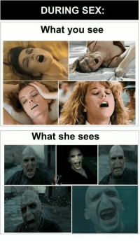 Sex, Dos, and She: DURING SEX:  What you see  What she sees En mi caso suelen ser Voldemorts los dos lados xdd