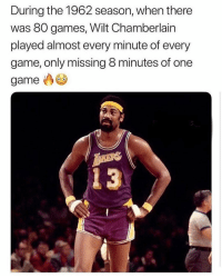 Nba, Game, and Games: During the 1962 season, when there  was 80 games, Wilt Chamberlain  played almost every minute of every  game, only missing 8 minutes of one  game  4 3 LEGENDARY