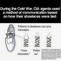 "Christmas, Dad, and Food: During the Cold War, CIA agents used  a method of communication based  on how their shoelaces were tied.  Patterns in shoelaces can carry  messages.  ""I have Foll  information"" m l ean  'I fucking hate it i fucking hate lasagna  Ollow its the fucking its the worst thing my da  always makes fucking goddamn lasagn  at christmas and its the worst I fucking  hate it its like my least favorite food my  brother hates i too i dont know why my  dad fucking makes that shit its fucking  disgusting i hate lasagna fuck.' Tüñâ -Johnny"