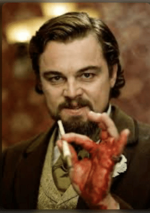 During the dinner scene in Dijango Unchained(2012), DiCaprio accidentally cuts his hand on a glass cup, yet never breaks character, later requiring stitches in his hand.: During the dinner scene in Dijango Unchained(2012), DiCaprio accidentally cuts his hand on a glass cup, yet never breaks character, later requiring stitches in his hand.