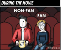 DURING THE MOVIE  NON-FAN  FAN  DORKLy Double tap if you can relate to one of these people! 😂