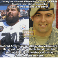 💛🖤 (DS): During the national anthem this Sunday, the entire  Steelers team staved inside the  locker room, except for one player..  15  COMMO  So BLUNYD  CAN SMOKE T  DONT TREAD ON ME  Retired Army Captain Allejandro Villanueva.  He stoodoutside with his hand over his  heart while his teammates sat inside  Atrue American Hero.  ys 💛🖤 (DS)