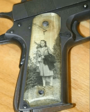 "Family, Soldiers, and Common: During World War II, it was common for soldiers to keep family photos under clear grips on their 1911 pistols. They were called ""Sweetheart Grips."""